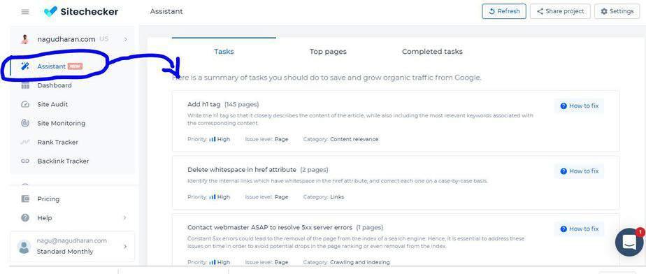 Sitechecker assistant feature