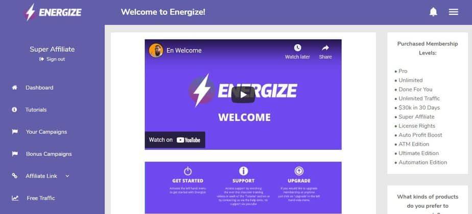 Energize member area dashboard